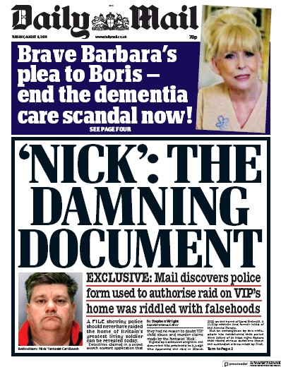 Daily Mail Newspaper Front Page (UK) for 6 August 2019