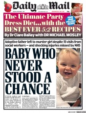 Daily Mail (UK) Newspaper Front Page for 7 November 2017