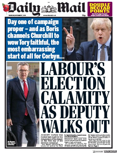 Daily Mail Newspaper Front Page (UK) for 7 November 2019