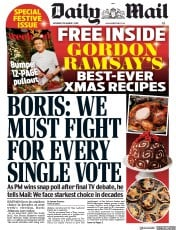 Daily Mail (UK) Newspaper Front Page for 7 December 2019