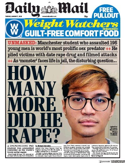 Daily Mail Newspaper Front Page (UK) for 7 January 2020