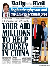 Daily Mail (UK) Newspaper Front Page for 7 February 2017