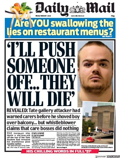 Daily Mail Newspaper Front Page (UK) for 7 February 2020