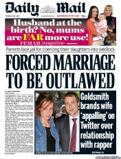 Daily Mail Newspaper Front Page (UK) for 7 June 2012
