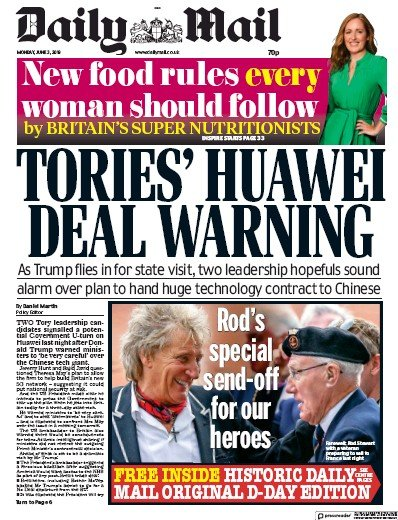 Daily Mail Newspaper Front Page (UK) for 7 June 2019