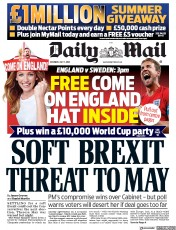 Daily Mail (UK) Newspaper Front Page for 7 July 2018