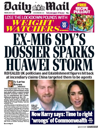 Daily Mail Newspaper Front Page (UK) for 7 July 2020