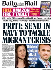 Daily Mail front page for 7 August 2020