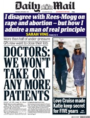 Daily Mail (UK) Newspaper Front Page for 7 September 2017