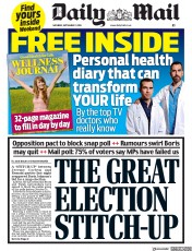 Daily Mail (UK) Newspaper Front Page for 7 September 2019
