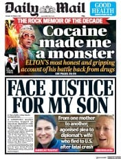 Daily Mail (UK) Newspaper Front Page for 8 October 2019