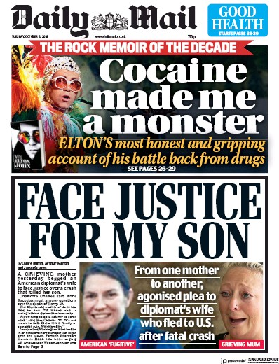 Daily Mail Newspaper Front Page (UK) for 8 October 2019