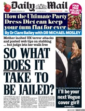 Daily Mail (UK) Newspaper Front Page for 8 November 2017