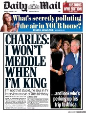 Daily Mail (UK) Newspaper Front Page for 8 November 2018