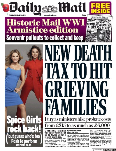 Daily Mail Newspaper Front Page (UK) for 8 November 2018