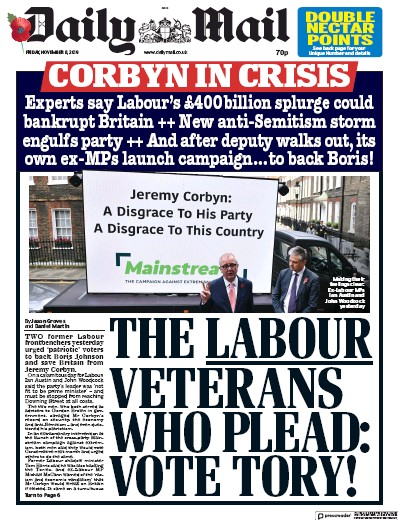 Daily Mail Newspaper Front Page (UK) for 8 November 2019