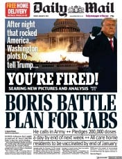 Daily Mail front page for 8 January 2021