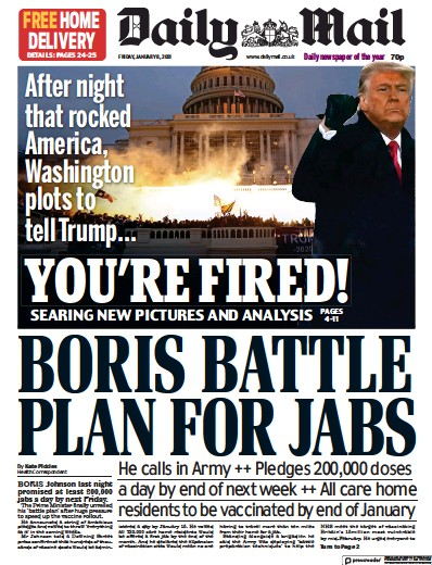 Daily Mail Newspaper Front Page (UK) for 8 January 2021