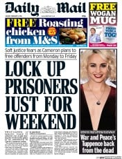 Daily Mail (UK) Newspaper Front Page for 8 February 2016