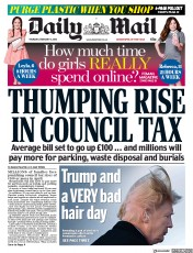 Daily Mail (UK) Newspaper Front Page for 8 February 2018