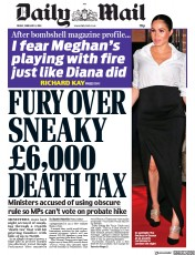 Daily Mail (UK) Newspaper Front Page for 8 February 2019