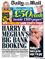 Daily Mail (UK) Newspaper Front Page for 8 February 2020