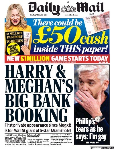 Daily Mail Newspaper Front Page (UK) for 8 February 2020