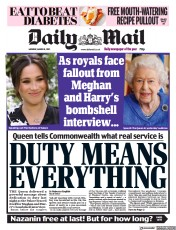 Daily Mail front page for 8 March 2021