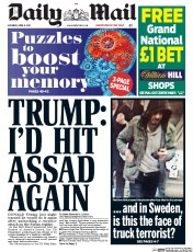 Daily Mail (UK) Newspaper Front Page for 8 April 2017