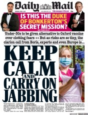 Daily Mail () Newspaper Front Page for 8 April 2021