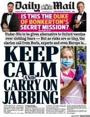 Daily Mail front page for 8 April 2021
