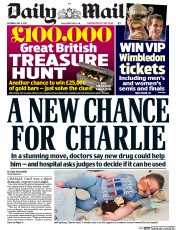 Daily Mail (UK) Newspaper Front Page for 8 July 2017