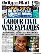 Daily Mail (UK) Newspaper Front Page for 8 July 2019