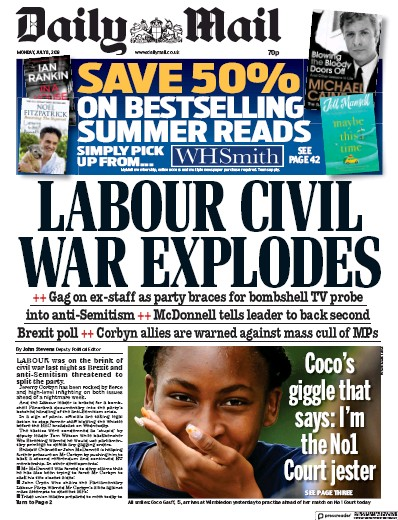 Daily Mail Newspaper Front Page (UK) for 8 July 2019