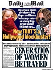 Daily Mail front page for 8 July 2020