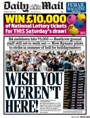 Daily Mail () Newspaper Front Page for 8 August 2019