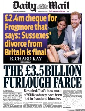 Daily Mail front page for 8 September 2020