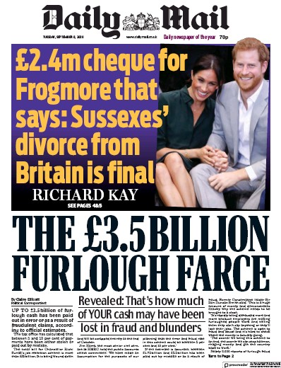 Daily Mail Newspaper Front Page (UK) for 8 September 2020