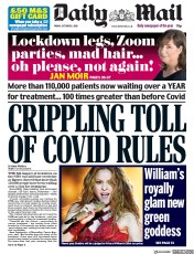 Daily Mail front page for 9 October 2020