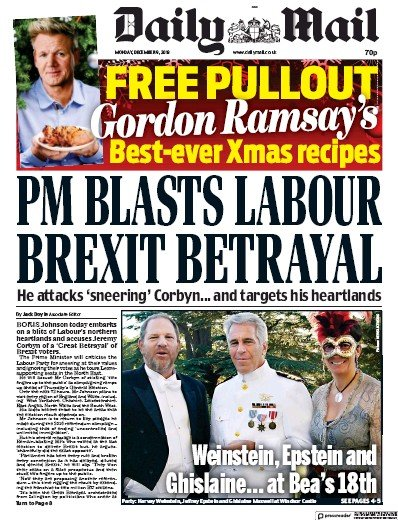 Daily Mail Newspaper Front Page (UK) for 9 December 2019