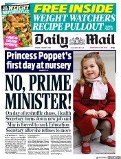 Daily Mail (UK) Newspaper Front Page for 9 January 2018