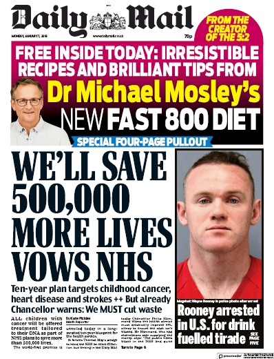 Daily Mail Newspaper Front Page (UK) for 9 January 2019