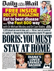 Daily Mail (UK) Newspaper Front Page for 9 January 2021