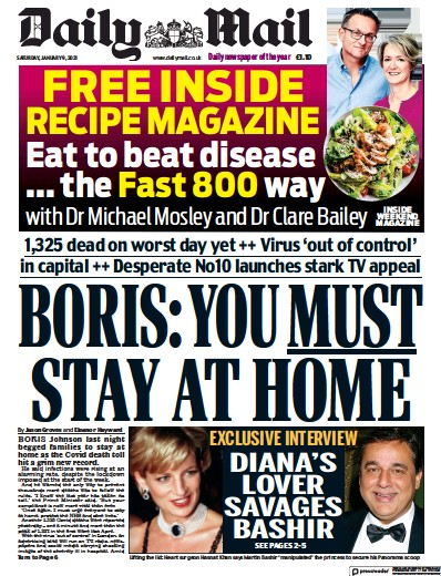 Daily Mail Newspaper Front Page (UK) for 9 January 2021
