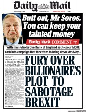 Daily Mail (UK) Newspaper Front Page for 9 February 2018