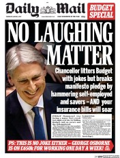 Daily Mail (UK) Newspaper Front Page for 9 March 2017