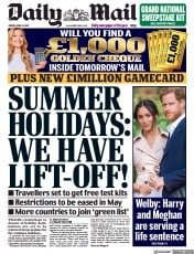 Daily Mail front page for 9 April 2021