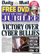 Daily Mail Newspaper Front Page (UK) for 9 June 2012