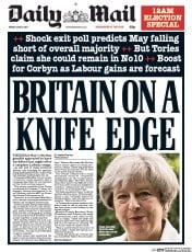 Daily Mail (UK) Newspaper Front Page for 9 June 2017