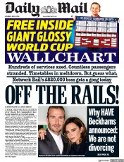 Daily Mail (UK) Newspaper Front Page for 9 June 2018